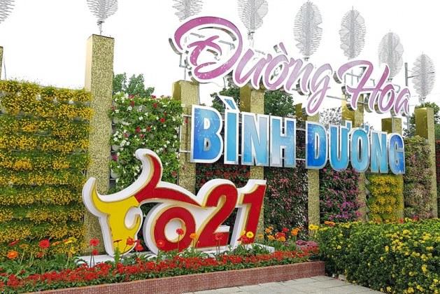 Đường hoa Xuân 2021 Thành phố mới Bình Dương, địa điểm check in tuyệt vời