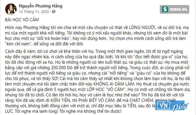 Nội dung bà Nguyễn Phương hằng chia sẻ trên Facebook ngày 12/11/2020