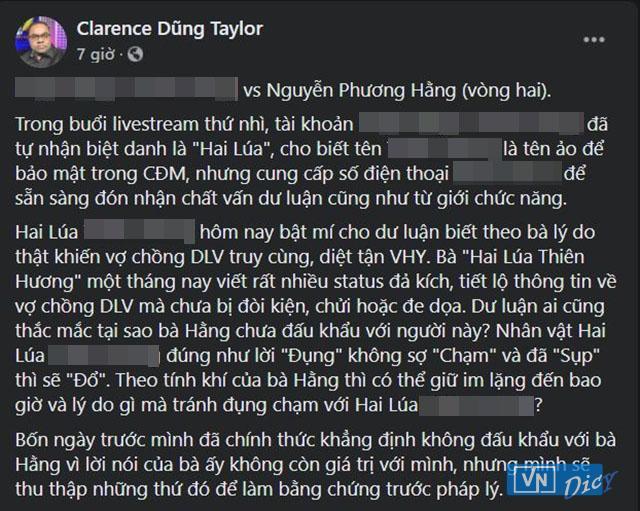 Dòng trạng thái chia sẻ câu chuyện của ông Dũng Taylor