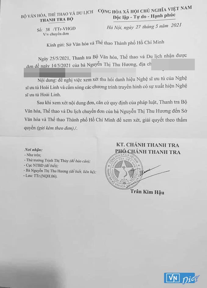 Văn bản chuyển đơn từ Thanh tra Bộ Văn Hóa, Thể Thao và Du Lịch tới Sở Văn hóa Thể thao TP HCM