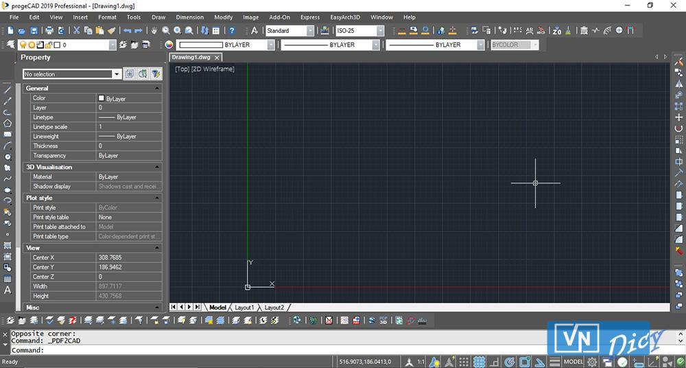 Giao diện phần mềm progeCAD phiên bản 2019