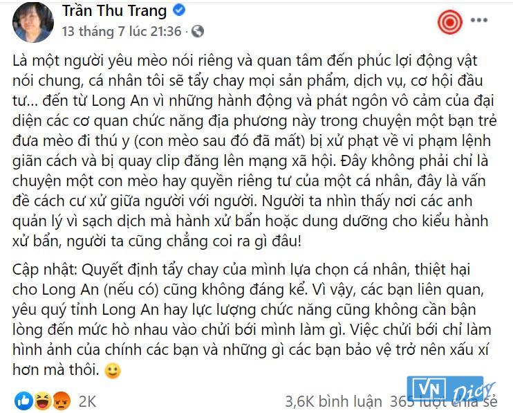 Dòng trạng thái Facebook Trần Thu Trang