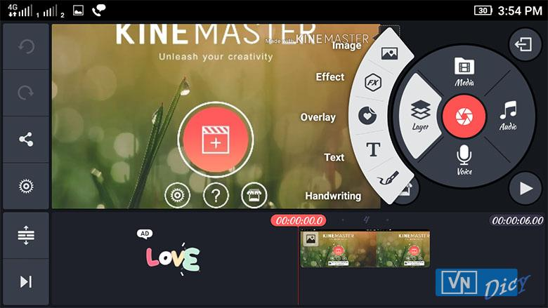 Giao diện KineMaster Pro trên điện thoại